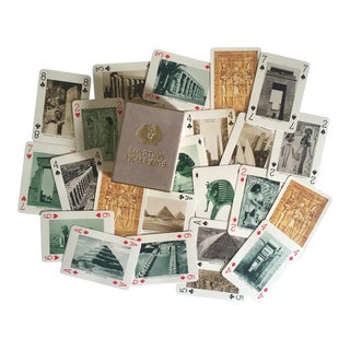 "Vintage 1930's Rare "" Egyptian Monuments "" Souvenir Lithograph Playing Cards Boxed Set"