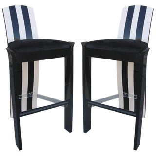 Black & White Memphis-Style Barstools - A Pair