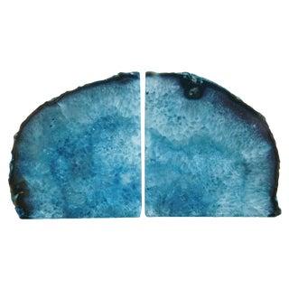 Deep Blue Polished Crystal Rock Geode Bookends