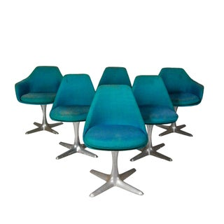 1960s Danish Aluminum Base Swivel Chairs - Set of 6