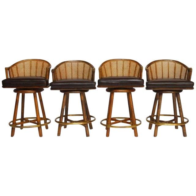 Image of McGuire Bamboo & Cane Swivel Barstools - Set of 4