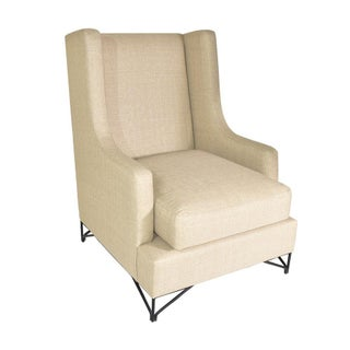 Wingback Lounge Chair with Iron Legs