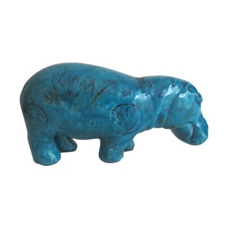 Vintage 60s Blue Faience Hippo Figure