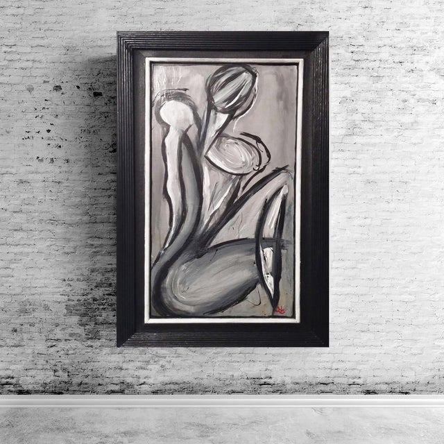 Sold*.Black & Gray Abstract Female Figure Painting - Image 2 of 3