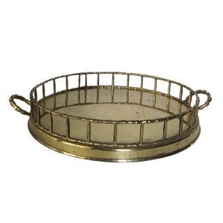 Round Brass Bamboo Style Tray