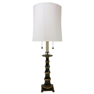 Large Faux Bamboo Patinated Brass Stiffel Lamp