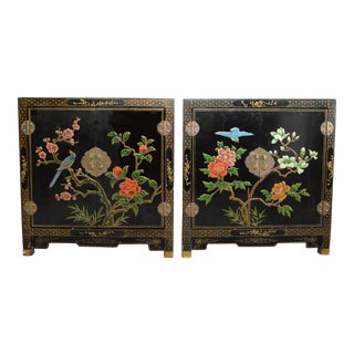 Asian Lacquered Nightstands - a Pair
