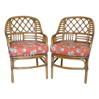 Rattan Lounge Chairs With Custom Cushions - A Pair