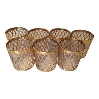 Imperial Sekai Ichi Glass Gold Double Rocks Glasses - Set of 7