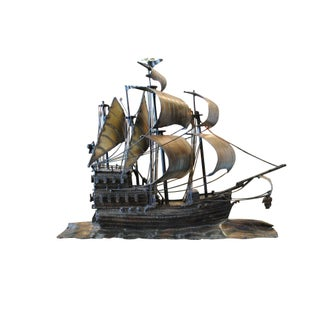 Chet Blacketer Black Iron Ship Sculpture