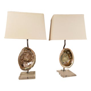 Natural Abalone Table Lamps - A Pair