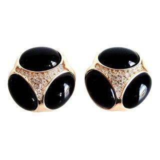 Christian Dior Black, Gold & Rhinestone Earrings