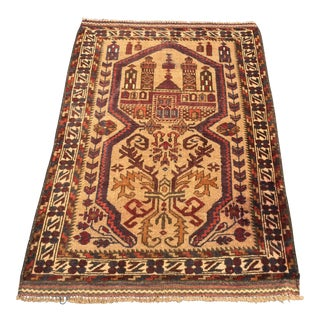 "Vintage Persian Baluchi Small Area Rug - 2'11"" x 4'7"""