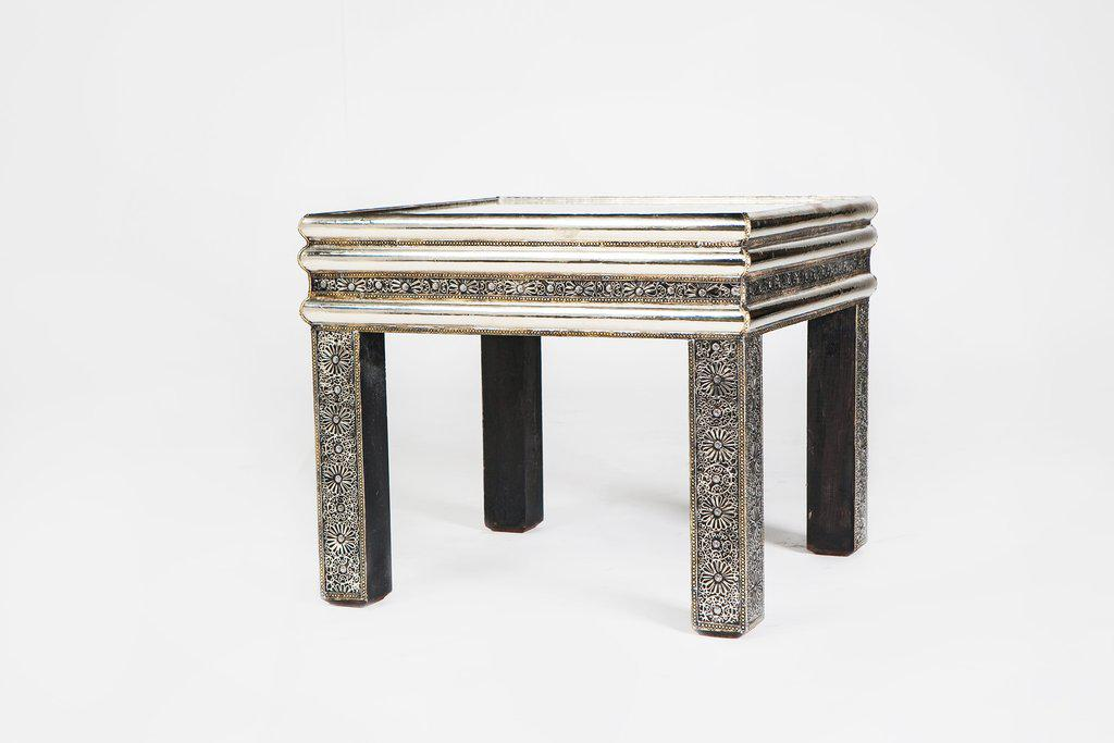 Moroccan Square Silver Metal Table With Glass Top   Image 4 Of 4