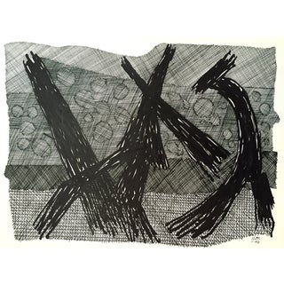 R. Stokes Vintage Pen Ink Abstract Drawing