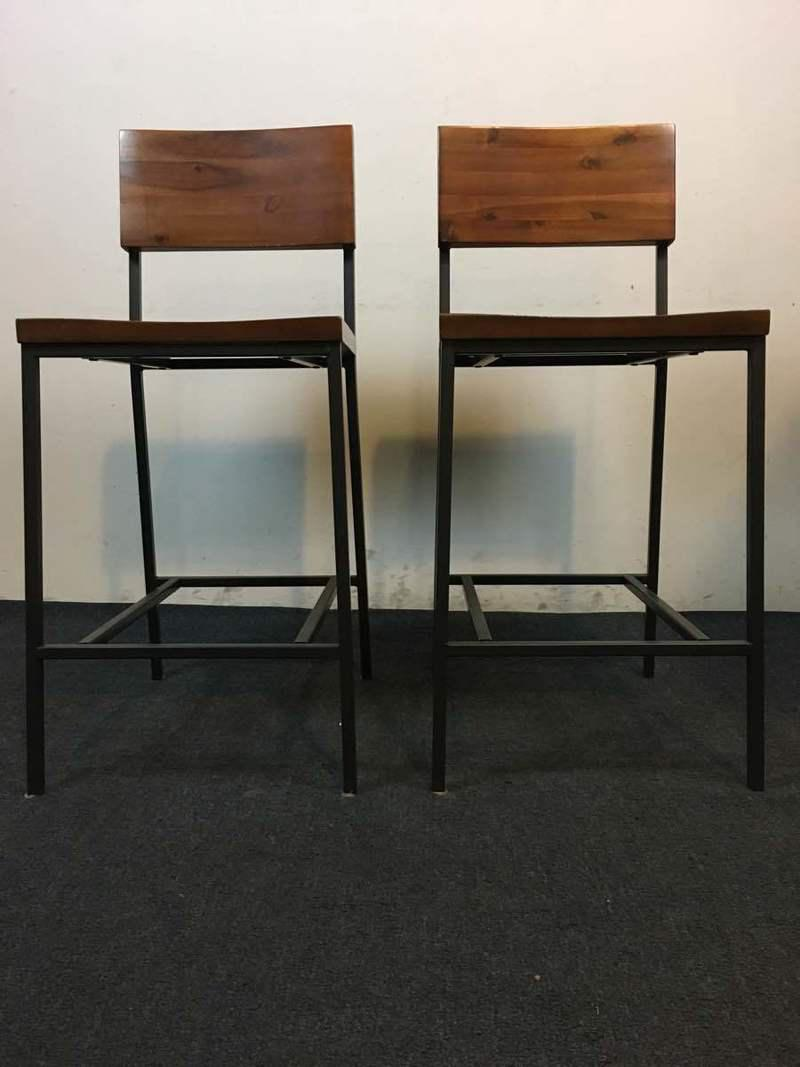 West Elm Rustic Modern Counter Stools A Pair Chairish