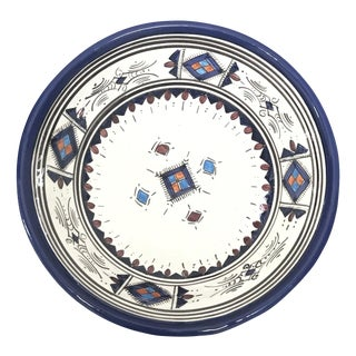 Moroccan Hand-Painted Medium Blue Ceramic Bowl