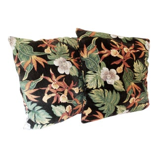 Tapestry Design Orchid Tropical Throw Pillows - a Pair