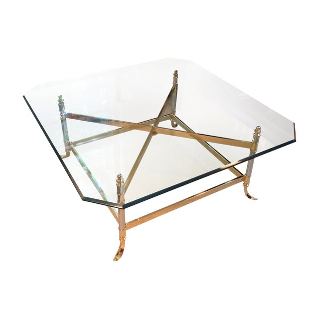 Image of Silver & Gold Glass Top Coffee Table
