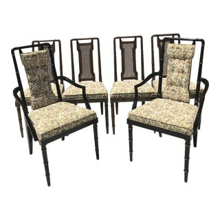 Vintage Faux Bamboo Cane Back Dining Chairs - Set of 6