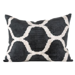 Graphite and Cream Silk Velvet Accent Pillow