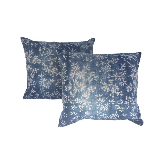 Vintage Indigo Batik Pillows - A Pair - Image 1 of 3