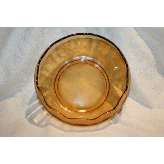 Image of Retro Amber Glass Serving Bowl