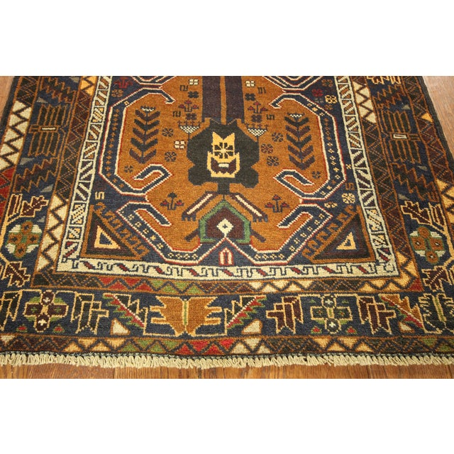 "Brown & Navy Balouch Runner Rug - 3' x 9'10"" - Image 7 of 9"