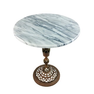 Hollywood Regency Marble & Brass Side Table