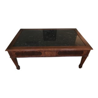 Hickory Marble Topped Solid Wood Coffee Table