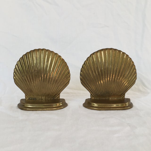 Brass Scallop Shell Bookends - A Pair - Image 2 of 6