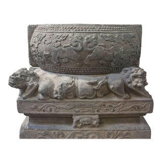 Pair of Chinese Qing Dynasty Carved Limestone Pedestals