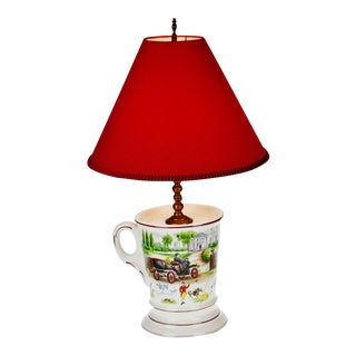 Early Duck Hunt Scene Porcelain Table Lamp
