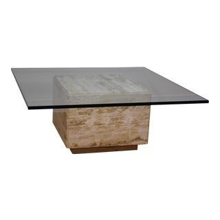Modern Travertine & Glass Square Coffee Table