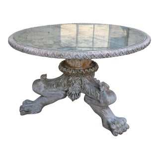 Painted Lion Paw Carved Tripod Dining Center Table