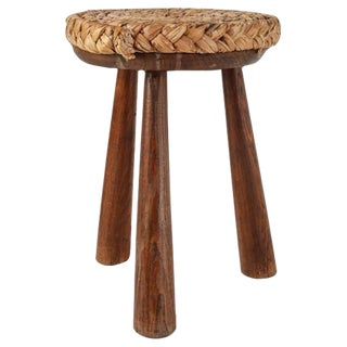 French Campagne Style Wood and Rope Tripod Stool, 1950s