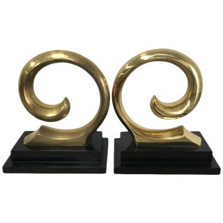 Monumental Pair of Pierre Cardin Brass Bookends