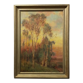 Alice Blair Thomas-Sunset Eucalyptus Landscape 1919 -Beautiful California Oil painting