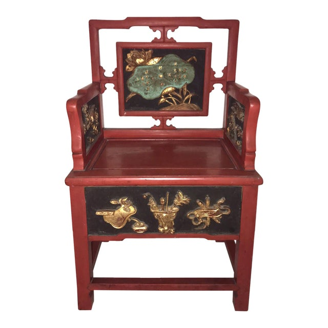 Antique Ming Style 'Lotus' Arm Chair - Image 1 of 9