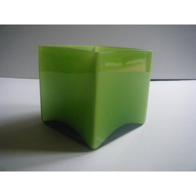 Modern Style Two-Toned Green Square Glass Vase - Image 3 of 4