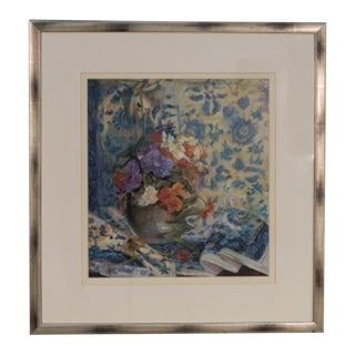 Vintage Framed Print of Flowers in Vase