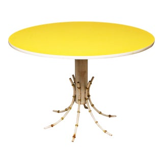 Vintage Yellow Bamboo Base Dining Table