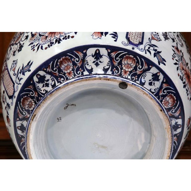 19th Century French Hand-Painted Faience Cachepot - Image 10 of 10