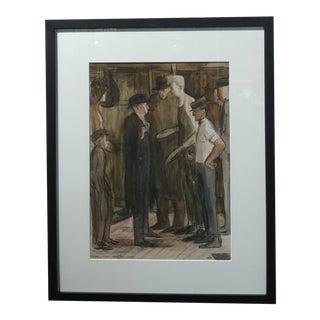 Carl Hugo Beetz -The Boxing Fight - original 1938 Painting
