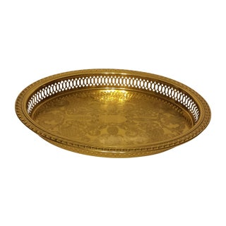 Solid Brass Pierced Gallery Oval Tray