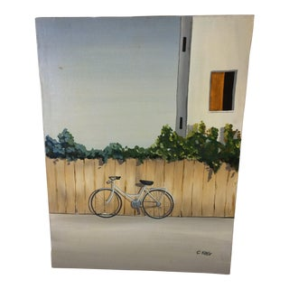 Bicycle Leaning Against Fence Oil on Canvas