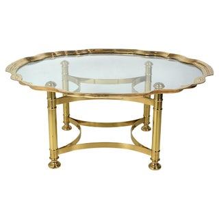 Scalloped Brass & Glass Cocktail Table