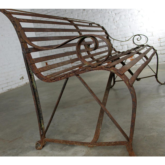 Antique 19th Century Forged Strap Iron Garden Bench - Image 4 of 10
