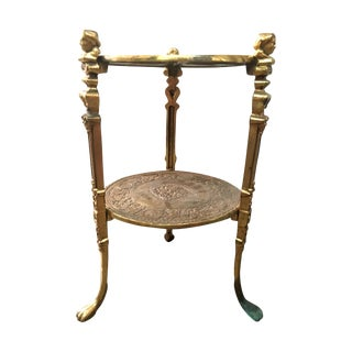 Vintage Brass 2-Tier Side Table