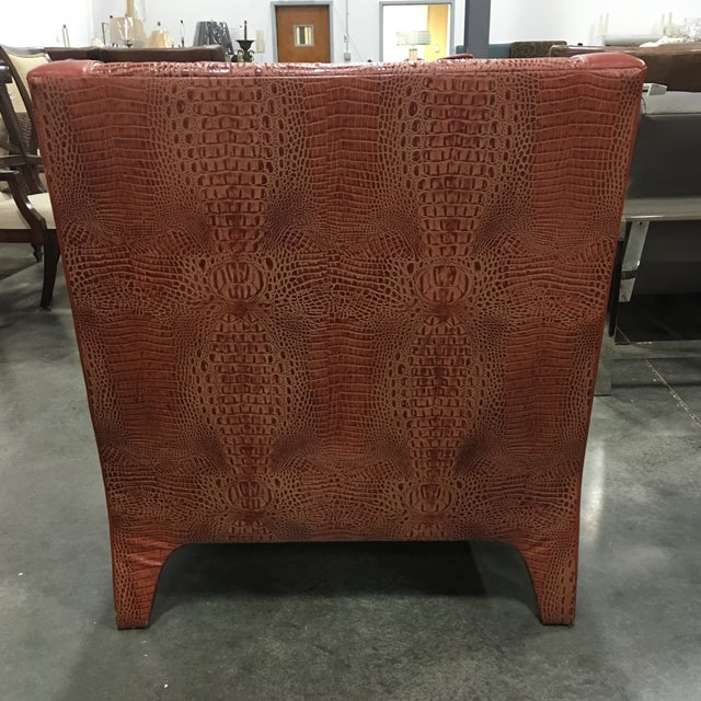 Leathercraft Burnt Orange Leather Accent Chair - Image 6 of 7